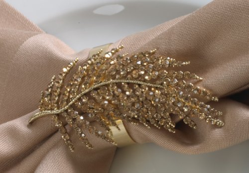 Jeweled Fern Leaf Gold Elegant Napkin Rings. Set of 4.