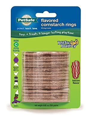 PetSafe Busy Buddy Refill Ring Dog Treats for select Busy Buddy Dog Toys, Bacon Flavored Cornstarch, Size C from Toys & Behavior