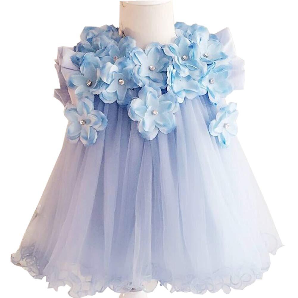 Michealboy Baby Girl Baptism Dresses Knee Length 3D Stereoscopic Applique Princess Wedding