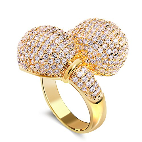 PSRINGS style gold plated with cubic zircon Rings two ball ring birthday gift South-west style jewelry 7.0