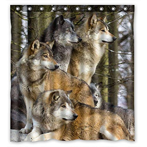 Group Animals - ZHANZZK Groups of Wolfs Wild Animal Bathroom Shower Curtain 60x72 Inches