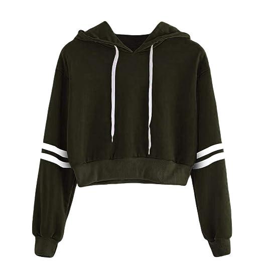 469989b2 Womens Casual Sweatshirt Hoodie Crop Top,Drawstring Long Sleeve Stripe  Blouse,Fashion Outwear Coat