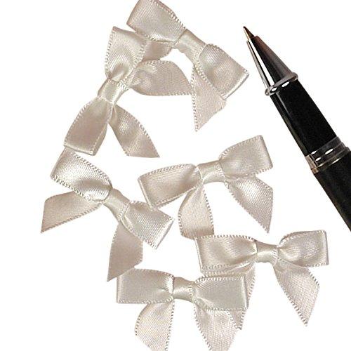 (White Satin Bows, 1-3/8