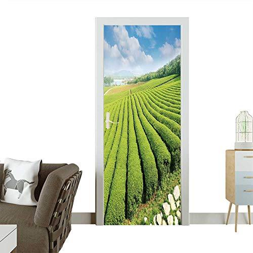 Homesonne Waterproof Decoration Door Decals Tea Plantations Perfect Ornament W38.5 x H79 INCH ()