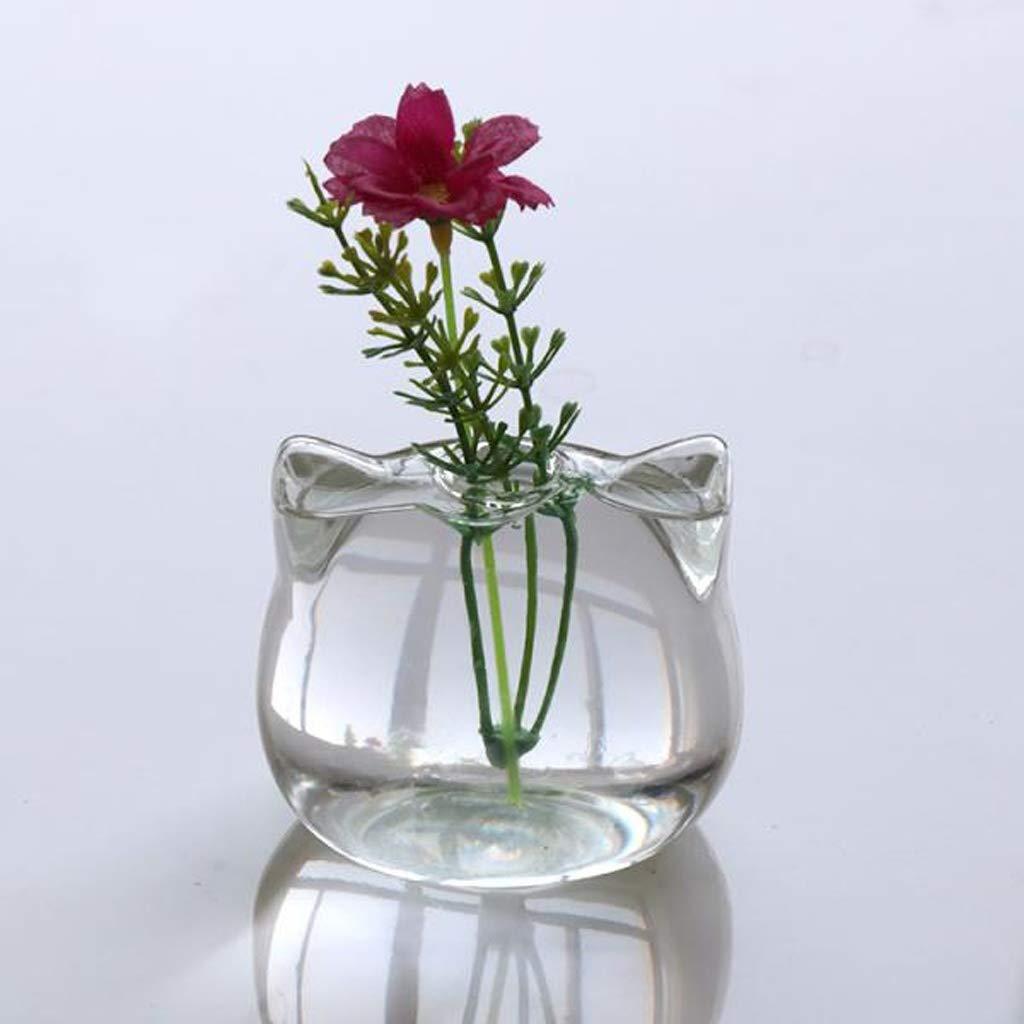 SODIAL Chat en Forme De Vase en Verre Hydroponique Plante Vase /à Fleur Terrarium Contenant Pot D/écor Art Cadeau