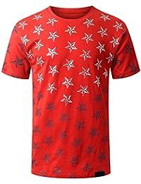 URBANCREWS Mens Hipster Hip Hop USA American Flag All-Star Crewneck T-shirt