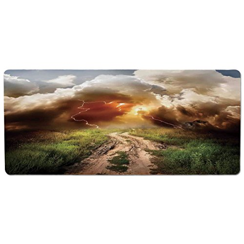 iPrint Pet Mat for Food and Water,Lake House Decor,Dazzling Big Rain Cloud Over The Earth Path Road in Countryside Field Climate Energy Image,Multi,Rectangle Non-Slip Rubber Mat for Dogs and Cats (Countryside Quilts)