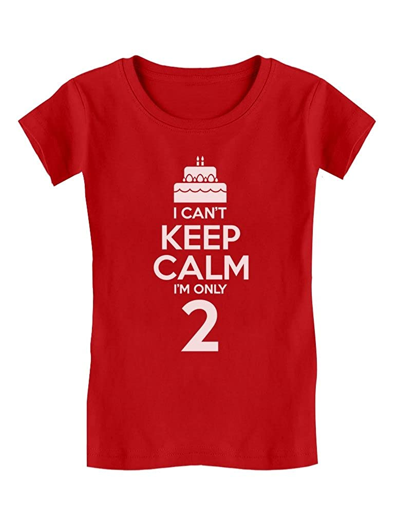 Birthday Cake I Can't Keep Calm I'm Two Kids Funny/Kids Girls' Fitted T-Shirt G0PMMP0gw5