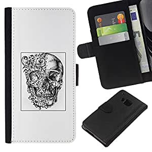 ZCell / HTC One M9 / Abstract Deep White Black Poster Skull / Caso Shell Armor Funda Case Cover Wallet / Resumen Deep Blanco Negro Póster