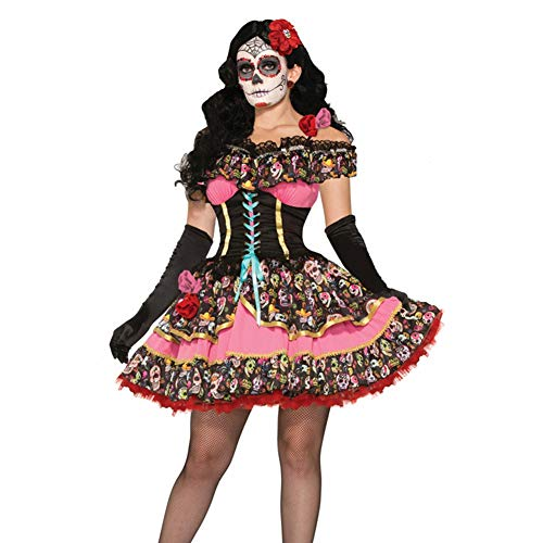 Women's Adult Party Fancy Sexy Off Shoulder Queen of The Dead Halloween Party Cosplay Costume Skull Swing -
