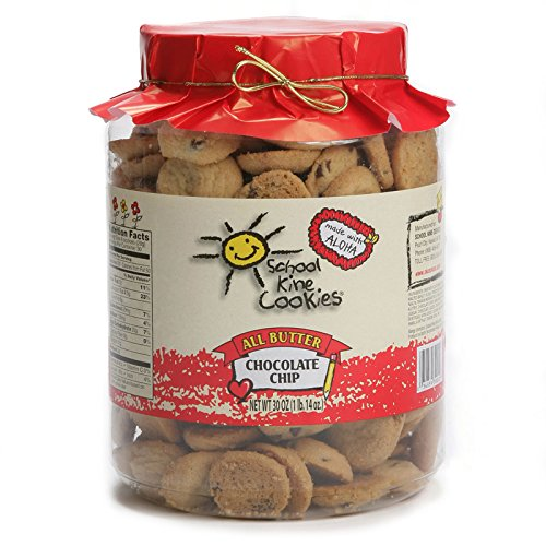 Hawaiian-style Butter Cookies, Bite-sized Chocolate Chip Butter Crunch with Homemade Taste, Small Snacks For Kids and Adults, (30 oz) - School Kine (Traditional Style Chocolate)