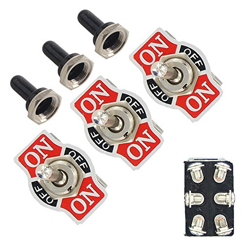 EtoparsTM 3 X Heavy Duty 20A 125V 15A 250V DPDT 6 Terminal Pin ON/OFF/ON Rocker Toggle Switch Flick Metal Waterproof Cap Knob