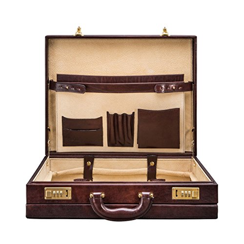 Maxwell Scott Personalized Premium Quality Handmade Italian Full Grain Leather Dark Brown Attache Case for Men (The - 706 Leather