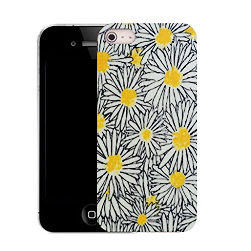 Mobile Case Mate IPhone 4 clip on Silicone Coque couverture case cover Pare-chocs + STYLET - yellow luring daisy pattern (SILICON)