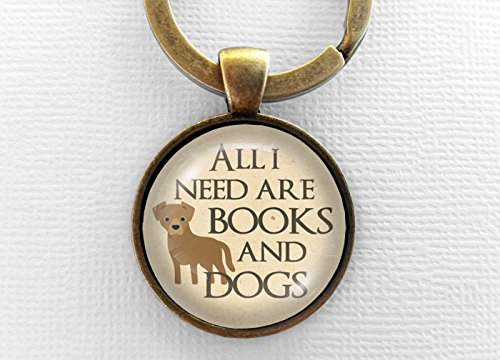 Books and Dogs Keychain, Glass Pendant Keyring, Bookish Gift, Text Art Charm Jewelry, Book Lover, Nerd, Fandom, Pet, Dog, Key Chain Key Ring