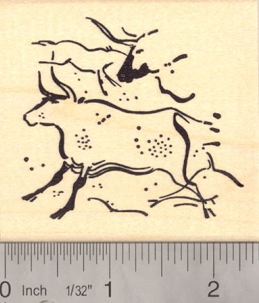 Paleolithic Cave Painting Rubber Stamp (Aurochs in the