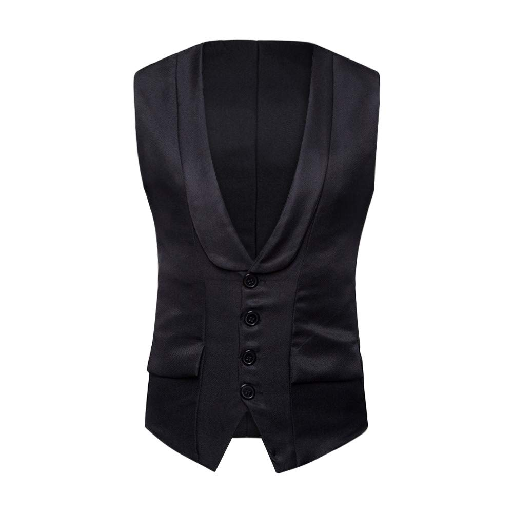 PASATO Men's Autumn Winter Formal Bussiness Tuxedo Suit Waistcoat Vest Jacket Top Coat New Hot!(Black, XL)