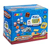 JOYIN Toy Cash Register Shopping Pretend Play Money Machine with Dual Languages, Scanner, Card Reader and Grocery Play Food Set for Kids Boys Girls Gifts, Interactive Learning