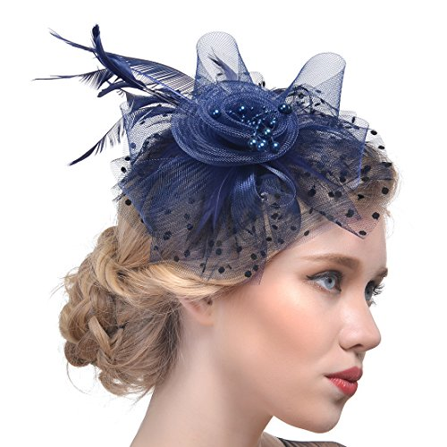 FeiYu Crafts Rooster Tails Feather Fascinator Top Hat for Girls and Women (A-Navy) -