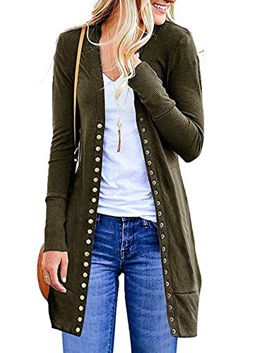 Ribbed Ballet Sweater - Ru Sweet Womens Knit Ribbed Neckline Cardigan Long Sleeve Snap Button Down Solid Color Cardigan Sweater