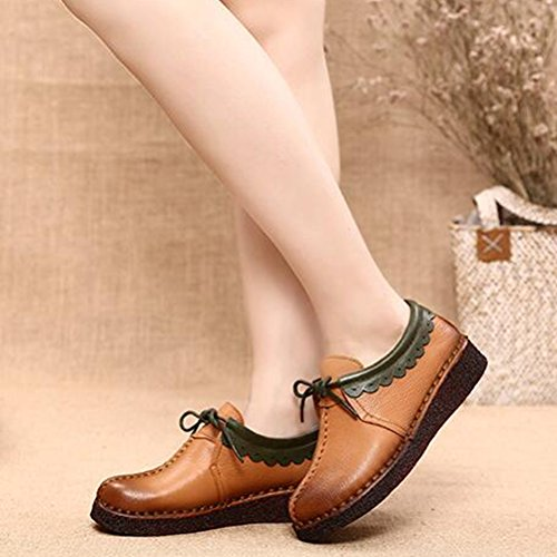 Shoes Laciness Leather Ochre Moccasins Mother Flat Lace Up Mordenmiss Loafer Women's Twqaza