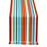 Design Imports Baja Stripe Fringed Mexican Table Runner