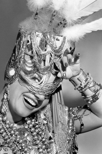 Carmen Miranda frilly headdress peeking & smiling in beads 24x36 Poster