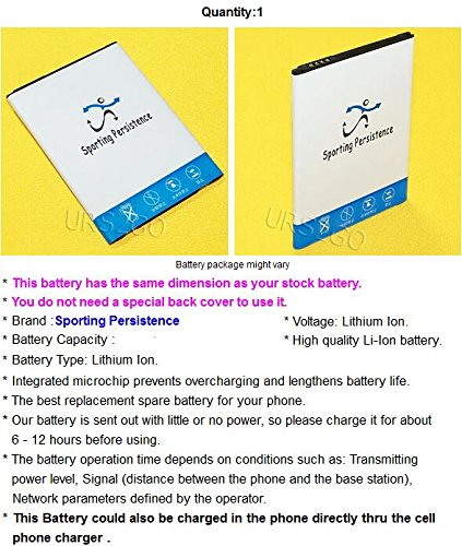 [LG V20 Battery] Sporting Persistence 3400mAh Extra Standard Replacement Battery for LG V20 VS995 Verizon Android Phone