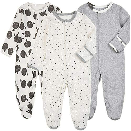 Baby Footed Pajamas Snap with Mittens - 3 Packs Infant Girls Footie Onesies Sleeper Newborn Cotton Sleepwear Outfits (9-12 Months, Fruit/Grey/Dot)