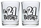 21st Birthday Shot Glass I'm 21 Bitches Funny 21st Gift Shot Glasses 2-Pack Round Shot Glass Set Black