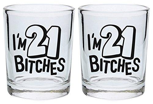 21st Birthday Shot Glass I'm 21 Bitches Funny 21st Gift Shot Glasses 2-Pack Round Shot Glass Set Black