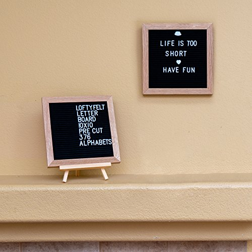 Letter Board 10 x 10 inches Black Felt Letter Board with PRE-Cut 376 Letters, Emojis, Free Letter Box Organizer. Changeable Letter Board Made with Solid Oak Frame with Mounting Hooks and Tripod Stand by LoftyFelt (Image #3)