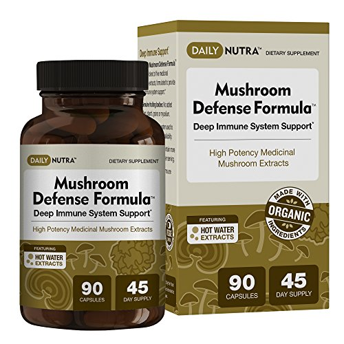 Mushroom Defense Formula - Deep Immune System Support 1000mg - Medicinal Mushrooms Hot Water Extracted - Reishi, Chaga, Maitake, Shiitake & Turkey Tail (3-Pack) by DailyNutra