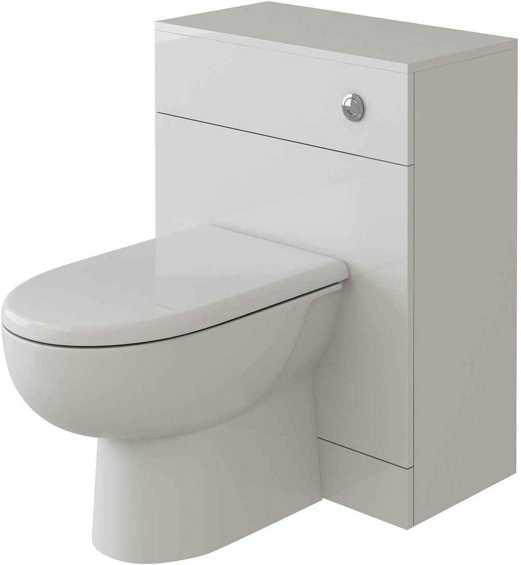 VeeBath Linx Complete High Gloss White Bathroom Toilet Furniture Set with D-Shaped Pan Seat and Cistern - 600 x 300mm