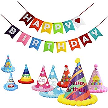 10 Packs Cone Happy Birthday Party Hats For Kids With Banner Favors Supplies And Decorations