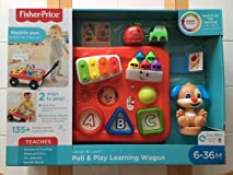 Bright, colorful, fun toy! Easy assembly! Handle a bit too short to pull wagon. Handle stores under!