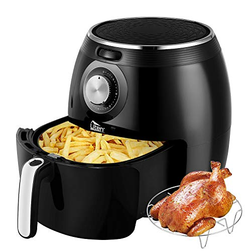 Uten Air Fryer XL, 5.8QT 1700W Electric Hot Air Fryer with Temperature Control & Timer Knob, Fast Oven Oilless Cooker with Grill Rack, Non Stick Fry Basket, Dishwasher Safe, UL Listed – Black
