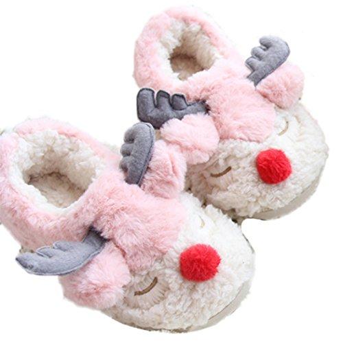MiYang Warm Animal Slippers For Women Non Slip Cute Indoor Shoes Pink Reindeer W39rymlS