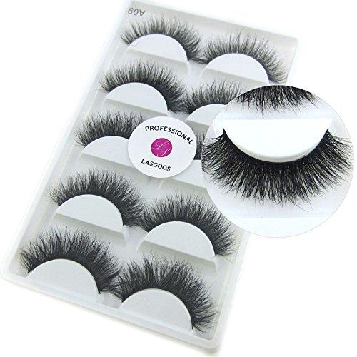 7cc0a884b7b Luxurious 100% Siberian Mink Fur 3D False Eyelash LASGOOS Degisn Natural  Messy Thick Volume Fake Eyelashes 5 Pairs/Box (A09) - Buy Online in Oman. |  Misc.