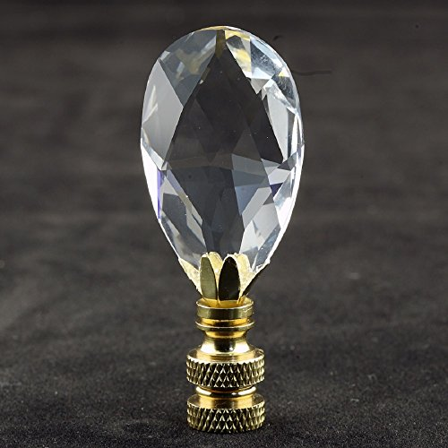 - Swarovski Crystal Lamp Finial (Teardrop) with Polished Brass Base - 2.75 Inches High