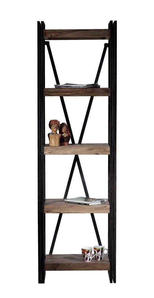 SIT-Möbel 9298-01 Regal Panama Shesham natur mit schwerem Altmetall und Gebrauchsspuren, 60 x 40 x 200 cm, 5 Böden