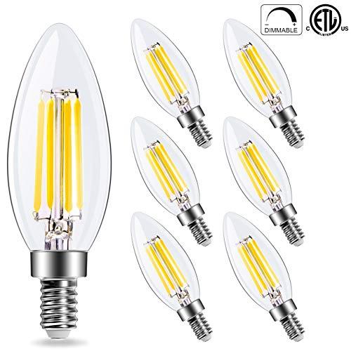 C35 Candelabra 4W LED Filament Bulbs Dimmable 60W Equivalent, Goyaesque 5000K Daylight White Chandelier B11 LED Bulb E12 Base Decorative Candle Light Bulb, 6 ()