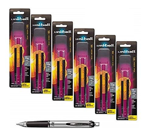Uni-ball Signo Impact 207 Rt (Retractable) Refills, Black Ink, 1.0 Mm Bold Point, 6 Packs of Refills 65873 (Uniball Pen Refills)