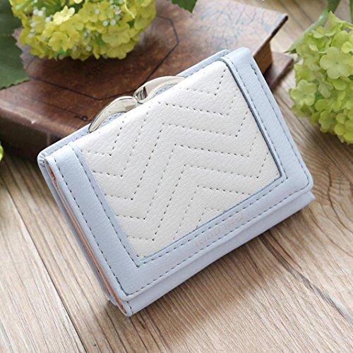 LHWY Mujer Sencillo Retro Monedero Corto De Hasp Monedero Portatarjetas Bolso Cuadrado Azul