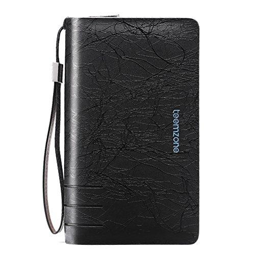 Teemzone Men's Genuine Leather Business Clutch Wrist Bag Handbag Organizer Card Cash Holder (Black Lines)