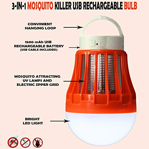 Cordless Rechargeable 3-in-1 Mosquito Killer LED Bulb for Indoor and Outdoor Use