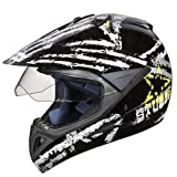 Studds Motocross D5 Helmet With Visor (Black N4, XL)