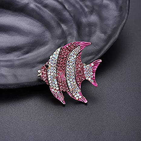Qinlee Woman Brooches Crystal Rhinestone Tropical Fish Scarf Clips Charm Clothing Accessories for Christmas Party Red