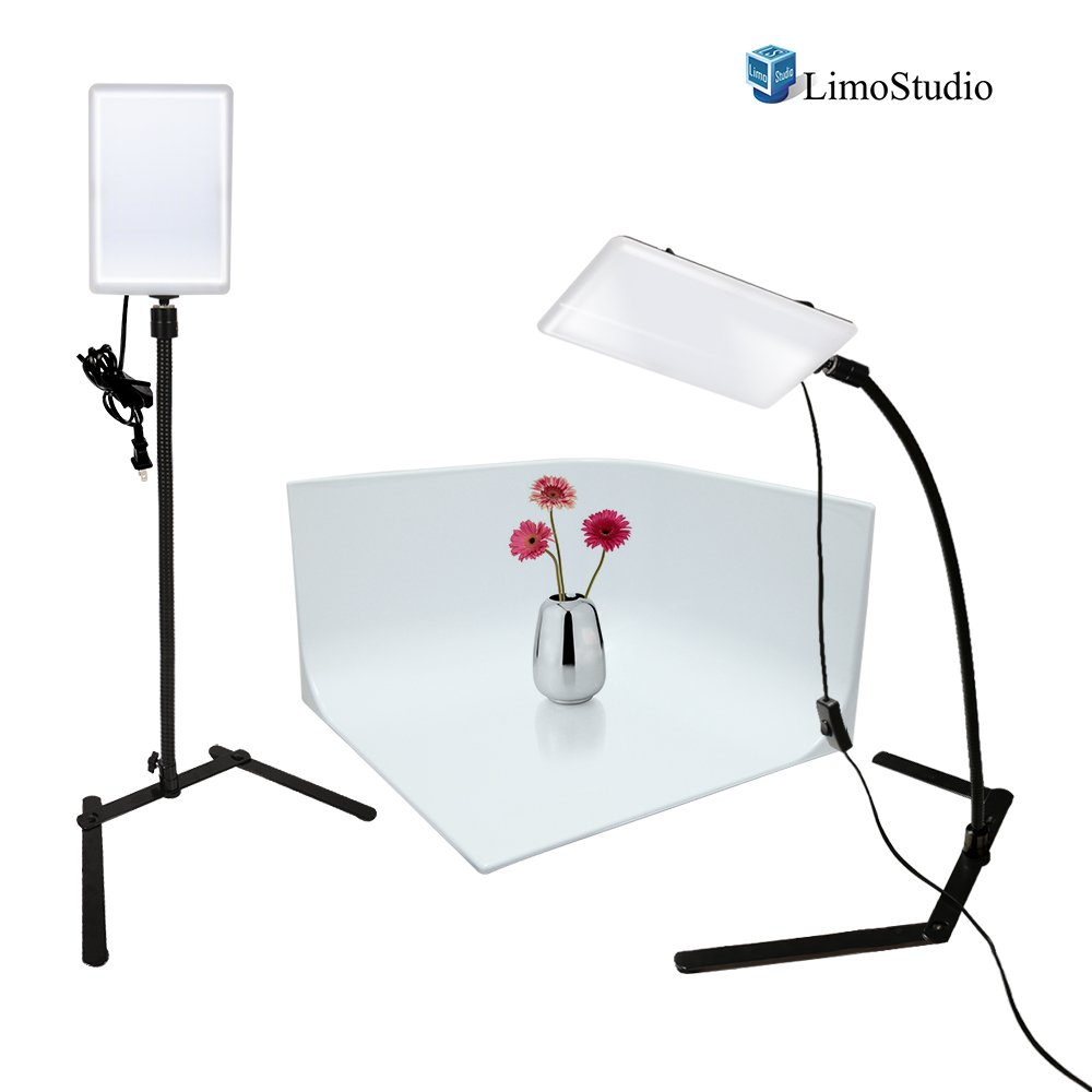 LimoStudio LED Light Panel with Gooseneck Extension Adapter, Mini Table Top Light Stand, White Seamless Studio Matte Cyclorama Module Background, Photo Video Lighting Kit, Photography Studio, AGG2210