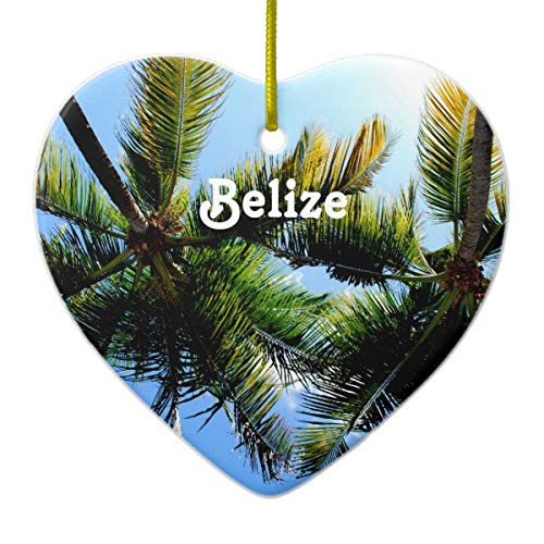 Belize Palm Trees Heart Porcelain Ornament Gift 3